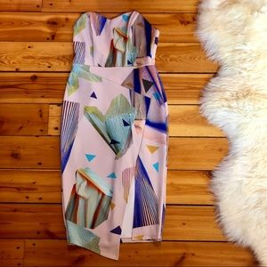 ASOS Midi Geometric Print Strapless Dress ✨NWOT✨